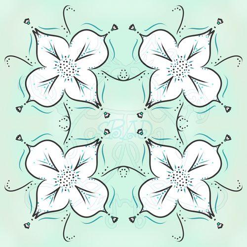 White Flower on Teal Sample JPEG 6x6 300dpi
